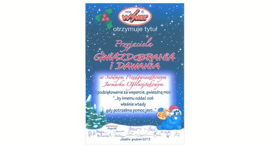 Podziękowanie za udział w akcji Gwiazdobranie i Dawanie dla PZM Wimet
