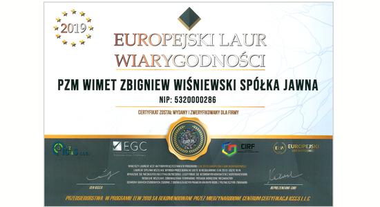 Wyróżnienie Europejski Laur Wiarygodności