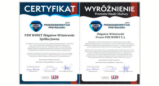 Przedsiębiorstwo Przyszłości - certyfikat i wyróżnienie